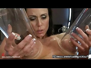 Two huge round tits fucking machines and squirting