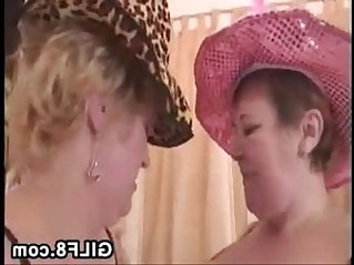 Old Lesbians With Toys Having Fun Together