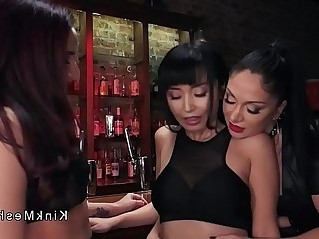 Ass to mouth dildo lesbian threesome