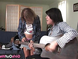 Girls Out West Cute lesbian musicians with shaved cunts
