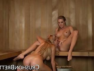 Lezdom sauna fun with busty amateur blonde Brett Rossi