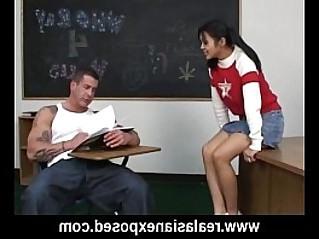 Asian schoolgirl fucks her pervert teacher
