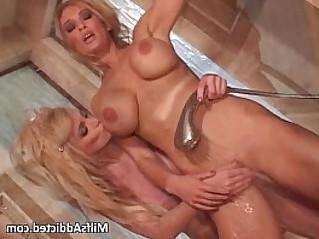 Two busty amateur blonde lesbian MILF sluts