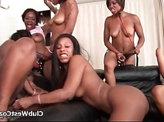 Horny ebony whores go crazy playing