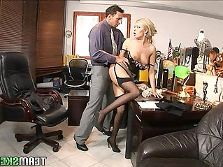 Teamskeet Sexy young blonde Donna Bell office deepthroat and anal sex