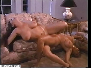 Blonde and brunette lesbians suck and rub pussies together on More
