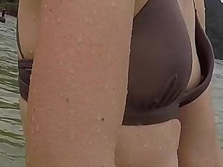 REAL Sweet Beach Spying Nipple Down Bikini