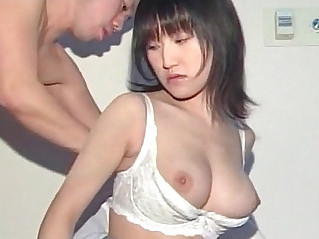 Big titted Asian in school eats and licks man stick in close up