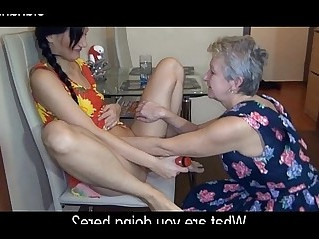 kitchen sex. granny and young