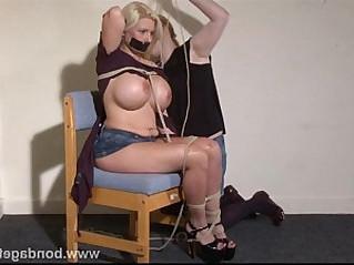 Tape gagged German fetish model Melanie Moons bondage and lesbian rope works of